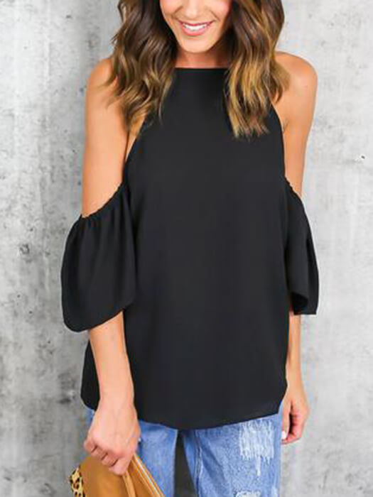 1f08614bd88 Cold Shoulder Strap Pure Color Ruffled Top – WhatsMode