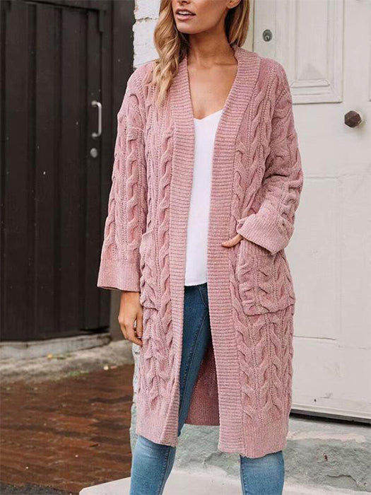 Loose Solid Color Twist Knitted Long Sleeves Pockets Cardigan Sweater