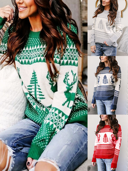 4ecb1f34da Women Sweater Fashion Deer Print Knit Sweater Christmas Sweaters ...