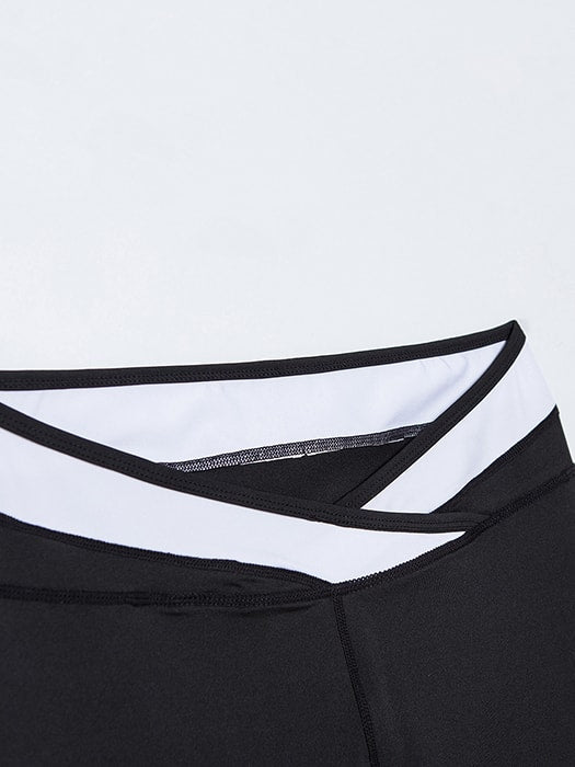 Black and White Color Block Sports Pants