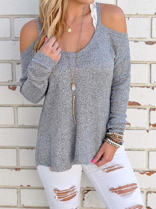 Loose O-neck Off Shoulder Long Sleeve Knitted Sweater – WhatsMode 514b9ca3d