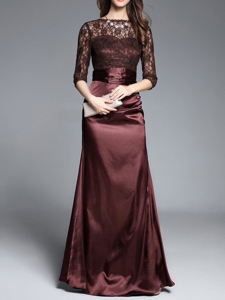 Lace&Silk Patchwork Formal Evening Dress