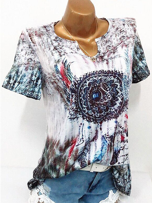 Chic Printed Short Sleeve T-shirts Tops