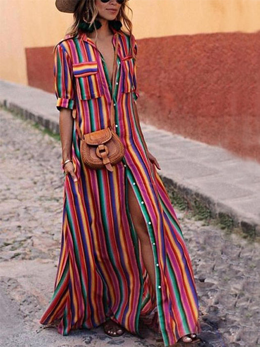 Stripe Slit Pockets Flowy Bohemian Maxi Dress