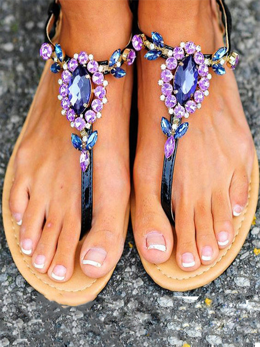 fac06892e Purple Rhinestone Clip Toe Flat Sandals – WhatsMode