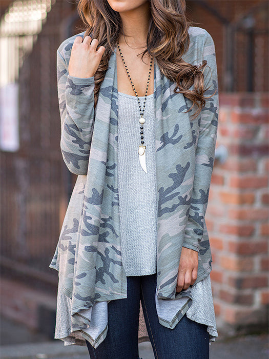 0475db83607c Camouflage Asymmetric Loose Wrapped Cardigan – WhatsMode