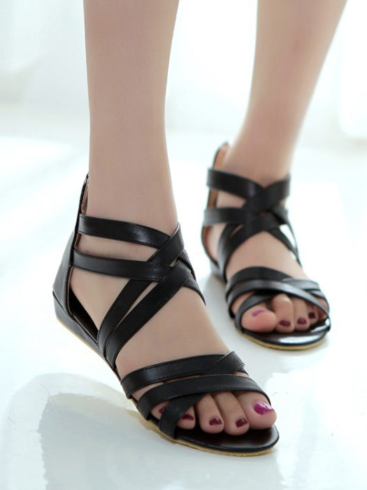 PU Summer Zipper Flat Sandals