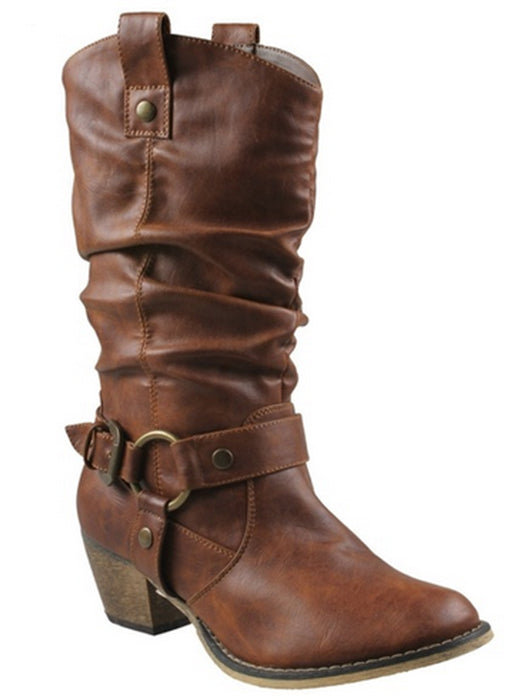 Cowgirl Vintage Leather Mid Calf Boots Buckle Heels Boots
