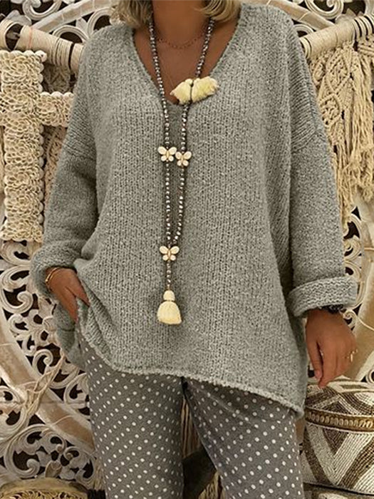 Solid Color Fashionable Casual Relaxed V-neck Knitted Sweater