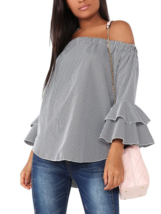 d934ef97c2e39e Check Off Shoulder Tiered Ruffle Sleeve Loose Top – WhatsMode