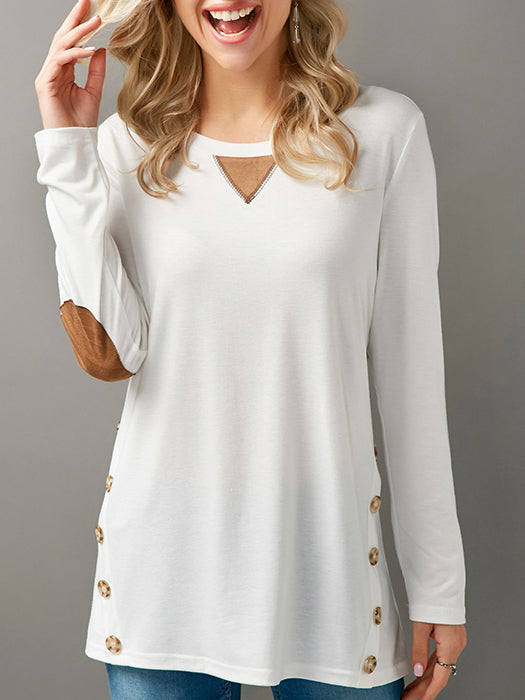 Elbow Patch Long Sleeve Button Embellished T-Shirt