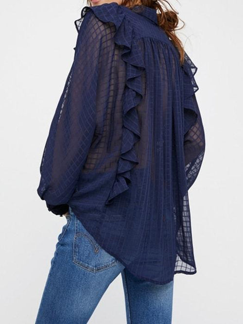 Frilly Mesh Casual Top In Navy Blue