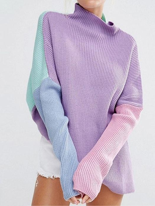 Lazy Roll Neck Color Block Sweater