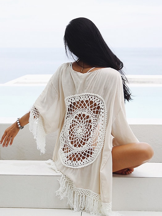 Hollow Back Tasseled Beach Coverup