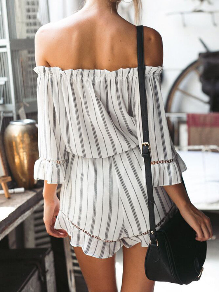Vacay Striped Frill Romper