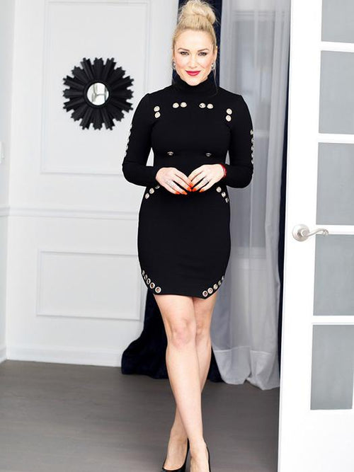 8faa0f46a1 Neck Mock Long Sleeves Metal Holes Bodycon Dress