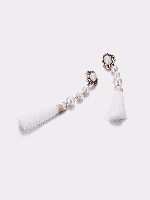 Crystal Embellished Pearl&Tassel Drop Earrings
