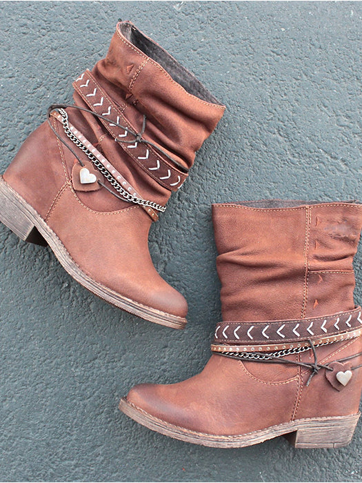 Slouchy Western Leather Ankle Boots