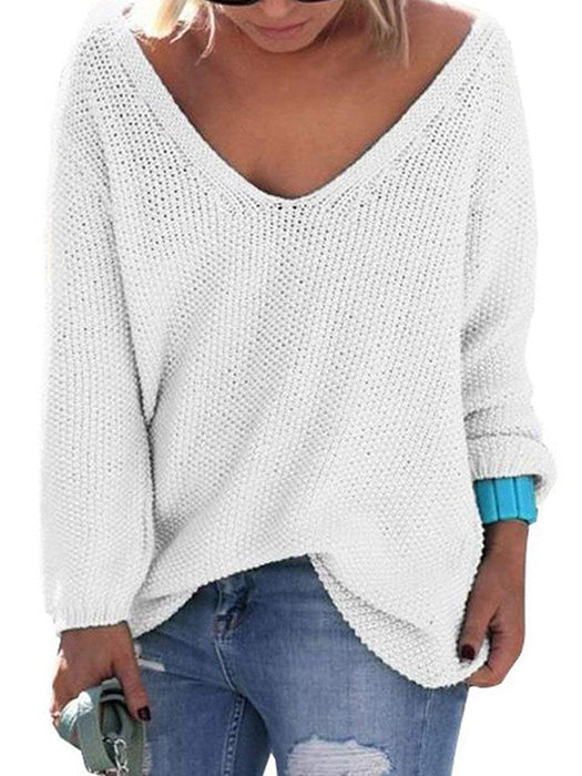 Knit V-neck Long Sleeves Oversize Loose Sweater