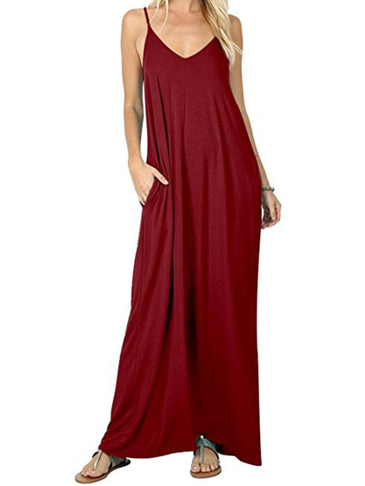 Casual Plain Swing Pockets Loose Maxi Dress