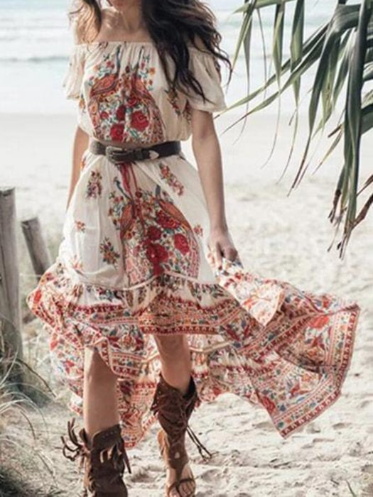 Floral Ruffled Off The Shoulder Maxi Dress
