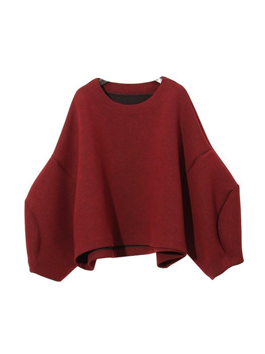 Drop Shoulder Bubble Sleeve Spliced Cuff Sweatshirt