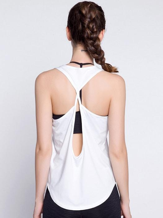 Crossover Lace Up In Back Yoga Vest Top