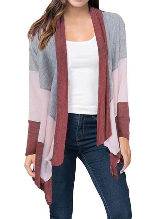 Collarless Cropped Contrast Cardigan