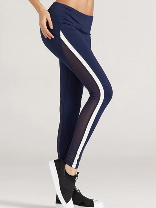 Strip Mesh Insert Crop Baselayer Leggings