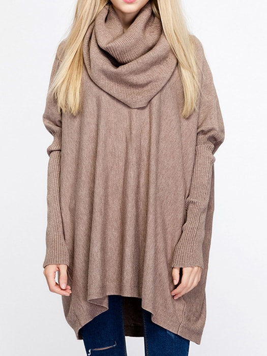 Oversize Cozy Heap Neck Bat-wing Ribbed Sweater - F / Khaki 22700