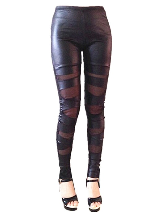 Cross Tie Faux Leather Transparent Pants