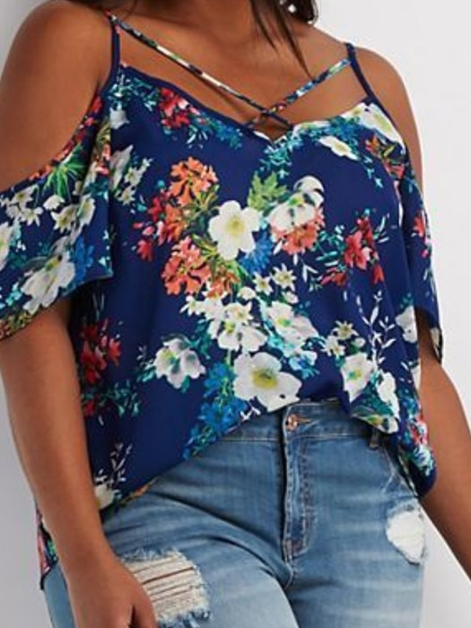 Cut Out Shoulder Strappy Floral Print Top