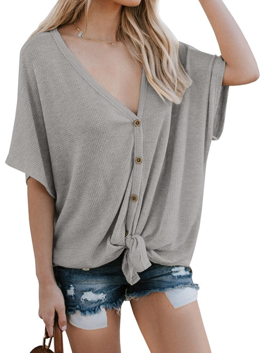 Batwing Sleeve Button Up Blouse