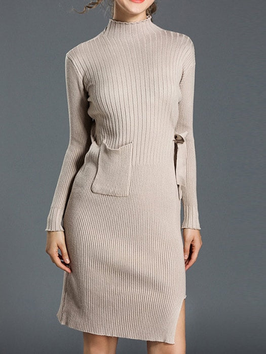 Cropped Hem Ribbed Roll Neck Sweater Dress - F / Apricot 18179