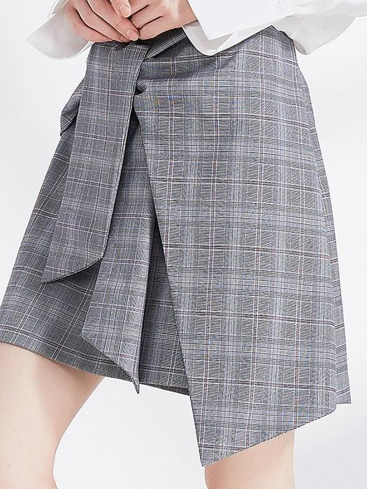Cropped Tied Front Checked A-line Skirt