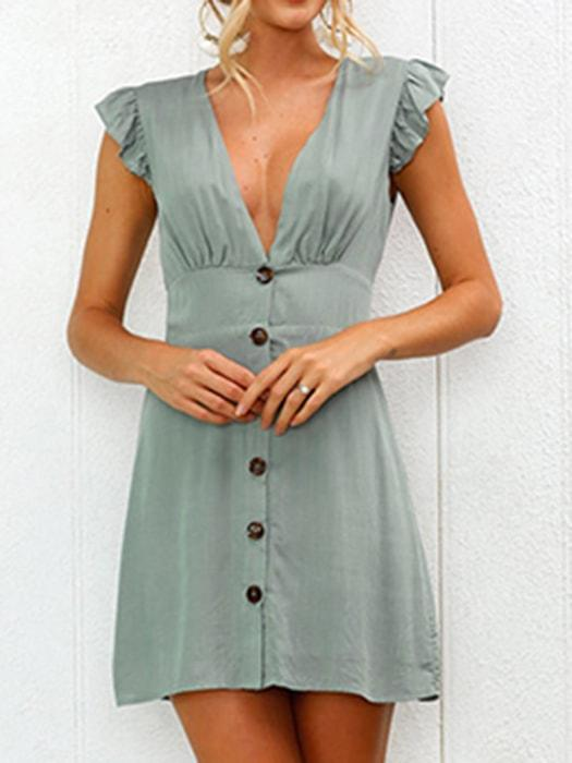 Gridle Sexy V Neck Button Pure Color Dress