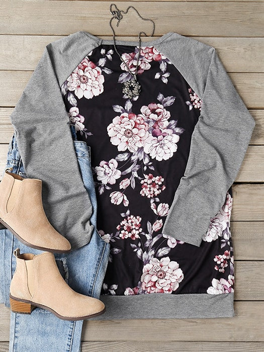 Floral Print Spliced Baseball T-shirt