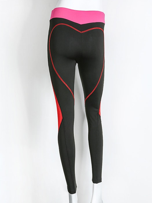 Heart Figure Contrast Color Sport Legging