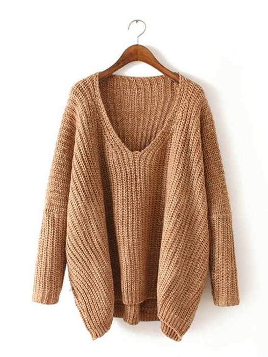 Solid Color V-neck Knit Sweater