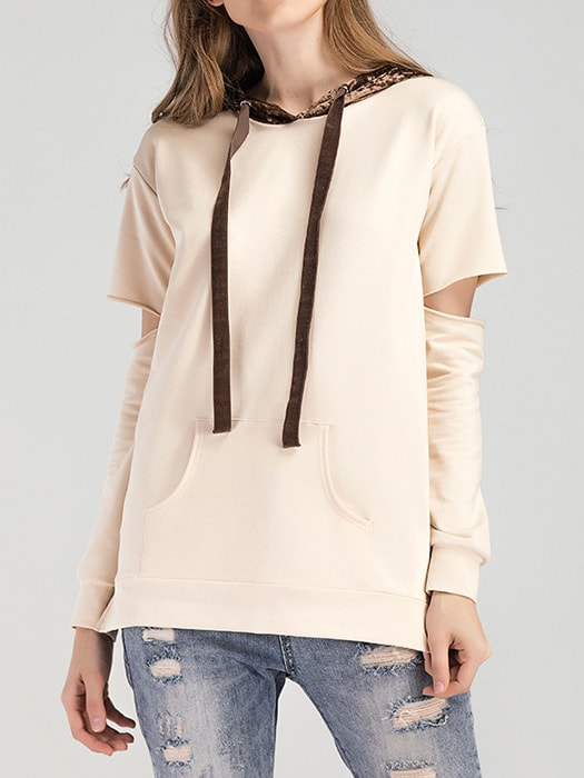 Cut Out Sleeve Hoodie With Lace Brim Hood