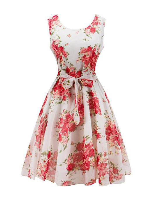 Sleeveless Floral Chiffon Dress With Belt Up