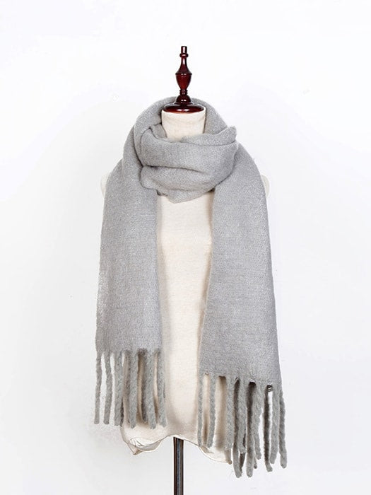 Fluffy Solid Color Fringed Scarf