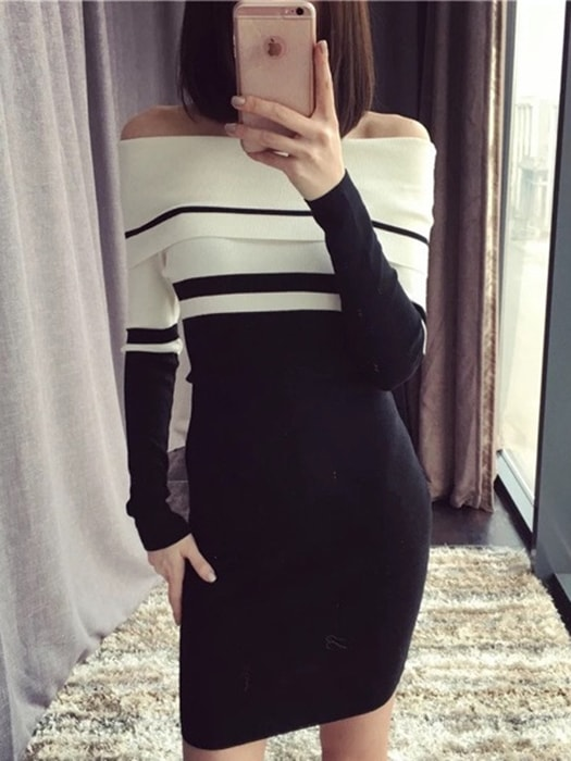 Color block Off-the-Shoulder Sweater Dress
