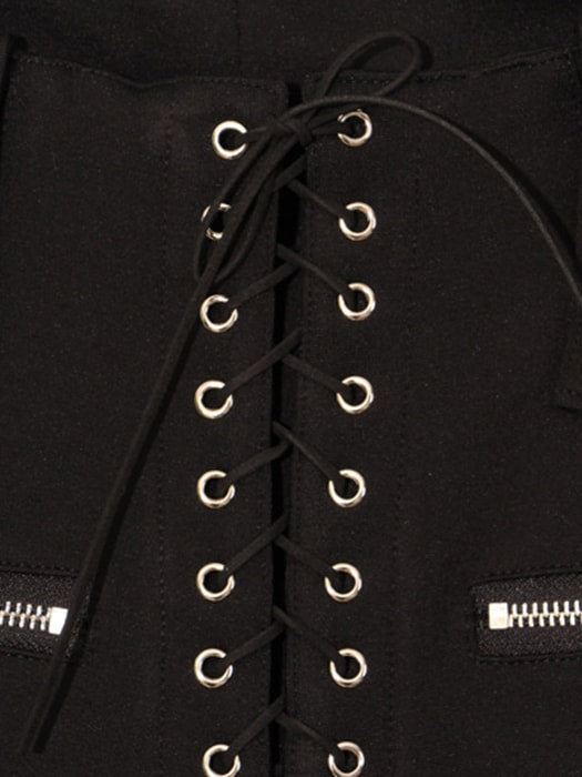 Bell Bottom Trousers In Black With Laced Up