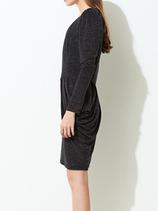 Deep V-neck Long Sleeve Waist Band Dress