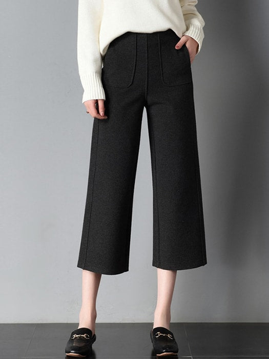 High Waist Wide Leg Capri Pants - S / Black 17995