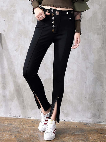 High Waist Casual Style Wide Leg Pant In Black