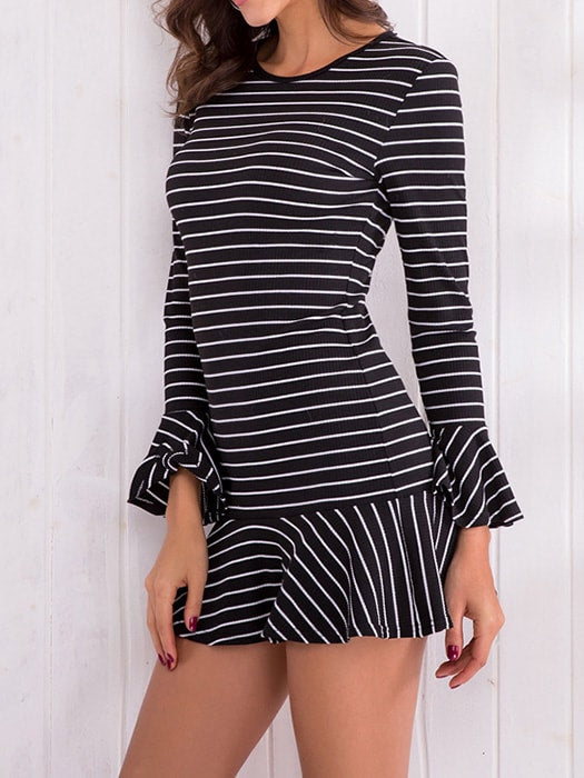 A-line Falbala Brim Mini Dress