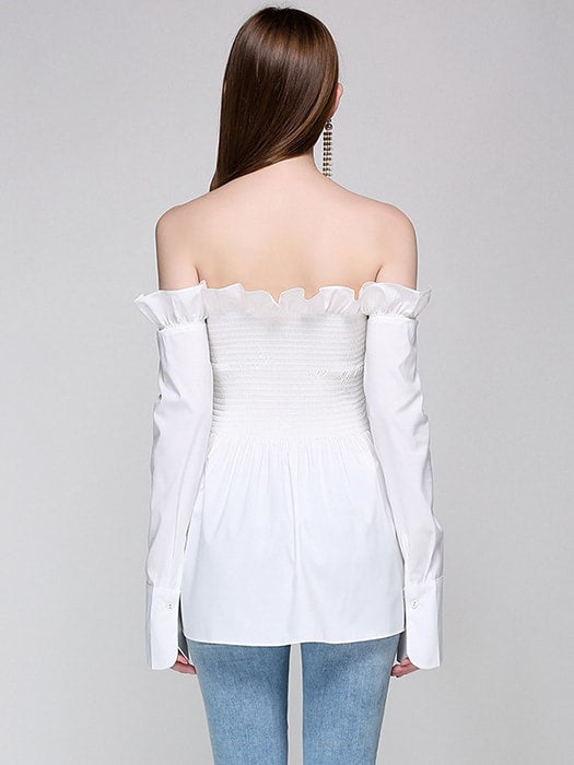 Long Sleeve One Shoulder Top With Pleated And Ruffle