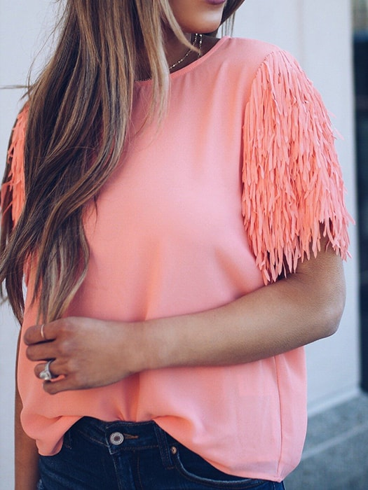 Casual All-match  Pure Color T-shirt With Tassels